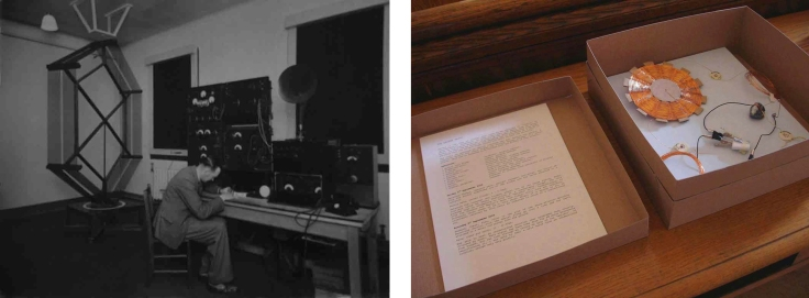 "Judy Spark: ""Aerial Coil"" (B/W print Courtesy of BT Archives) and ""Of Origins Unknown; the Galena Radio"" from Tuning to the Ether, Cupar Festival of Visual Art, 2009"
