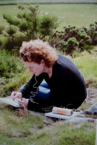 Judy Spark on Drumcarrow Hill, Cupar testing the reception of her handmade radios.